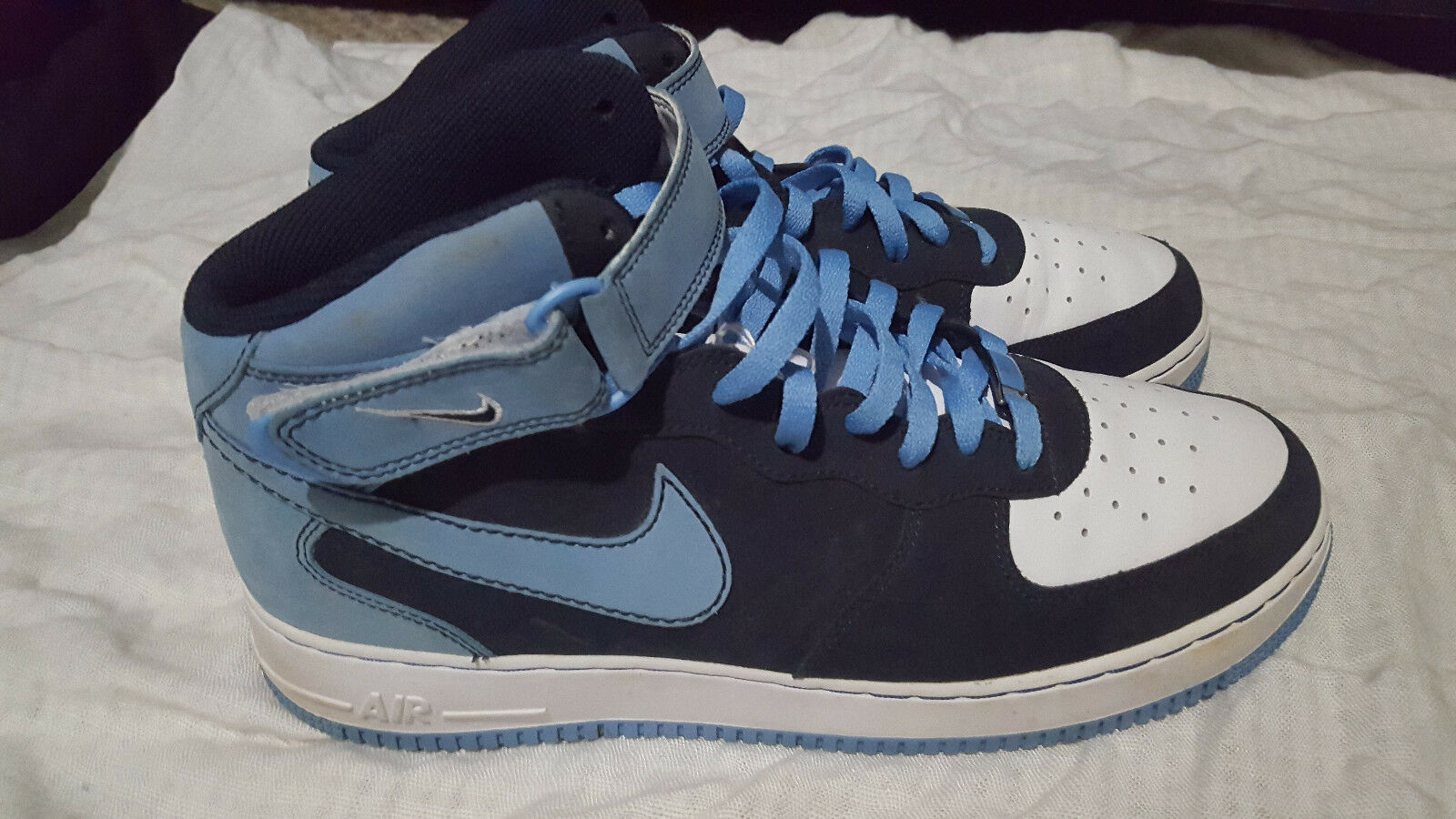 Nike Air Force1 07 Mid Shoes 315123-441 Obsidian University Blue White US Comfortable