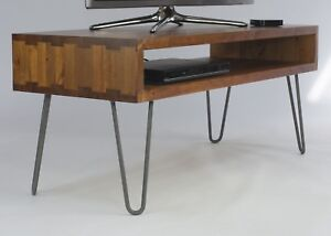 Details About Dovetailed Solid Wood Tv Stand W Metal Hairpin Legs Vintage Retro Rustic