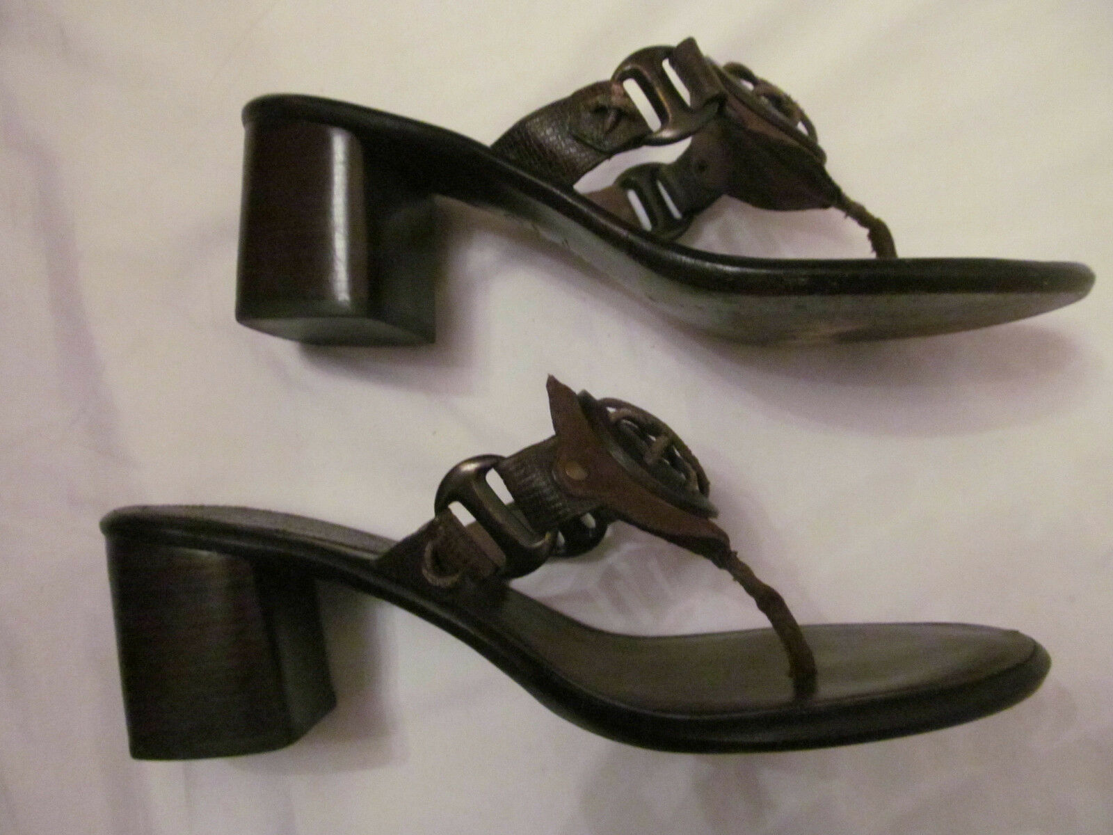 COLE HAAN HAAN HAAN thong leather chunky heel front  sand dollar   sandals shoes 9 b09093