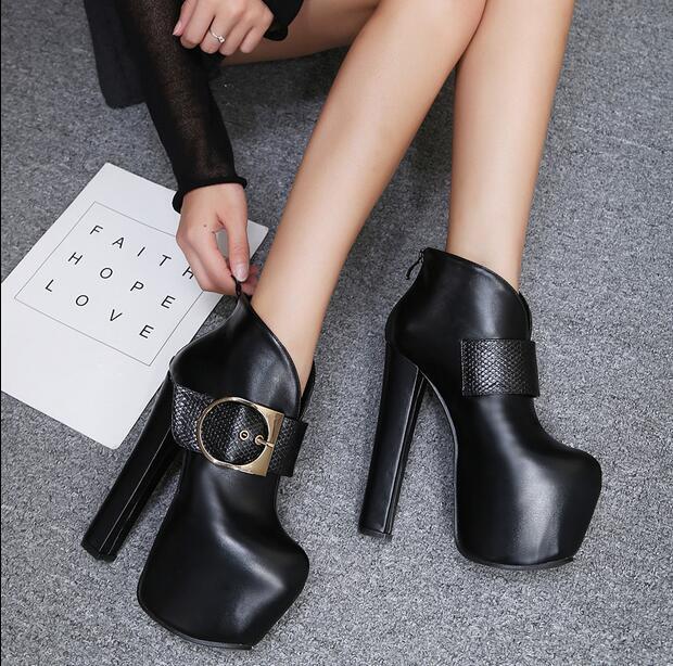 Para Mujer Grueso Plataforma Tacón Alto Alto Alto botas al Tobillo Zapatos informales chocar Toe Club nocturno  estilo clásico