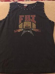 WOMEN'S 2XL BLACK TANK TOP BY BIKER DESIGN FBI (FAT BAGGER, INC) (JB)