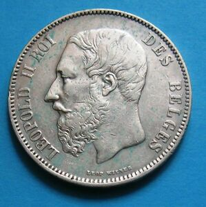 5 Franchi Belgi Di Leopoldo Ii Del 1873- Argento - 643