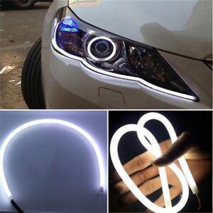 2-Blanc-60cm-LED-Tube-Bande-Lampe-Lumiere-Phare-Flexible-DRL-de-Voiture