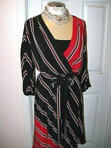v WHITE HOUSE BLACK MARKET sz 12 STRIPED WRAP DRESS VERSATILE NWT-GORGEOUS! $148