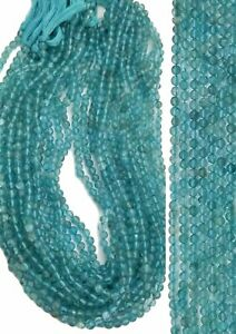 14 Inches Strand,Natural Sky Blue Apatite Faceted Rondelle,Size 4-4.5mm
