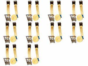 """2/"""" X 27 FT Flat Hook Ratchet Tie Down Assemblies TRAILER TOW STRAP Ten 10x"""