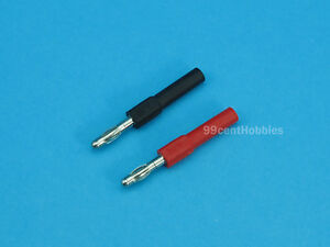 2mm Banana Plug to 4mm Banana Plug Converters (1 Pair Red + Black)