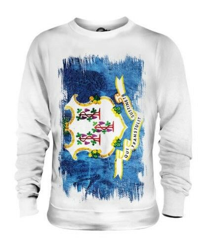 CONNECTICUT STATE GRUNGE FLAG UNISEX SWEATER TOP CONNECTICUTER SHIRT GIFT