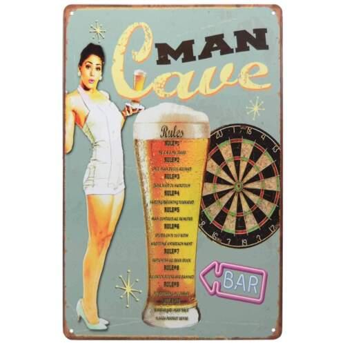Man Cave Rules Retro Metal Tin Sign Homewares Bar Decor Kitsch Pin Up Pub Garage
