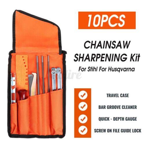 10Pcs Chainsaw Sharpening File Filing Kit Files Tool Chain Sharpener For Stihl