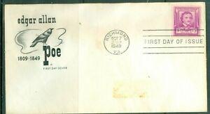 US-FDC-986-EDAR-ALLEN-POE-CANCL-OCT-7-1949-NOT-ADDR-HF-COVER