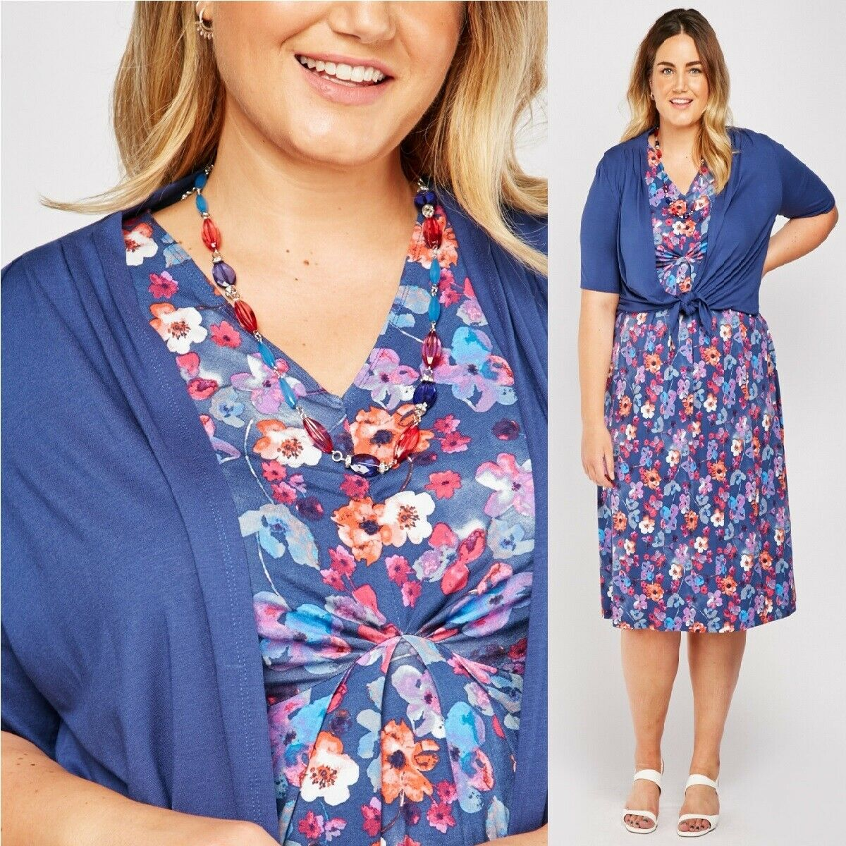 NEW EWM Mother of the Bride Outfit Size 16 Blue Floral Dress Shrug Necklace