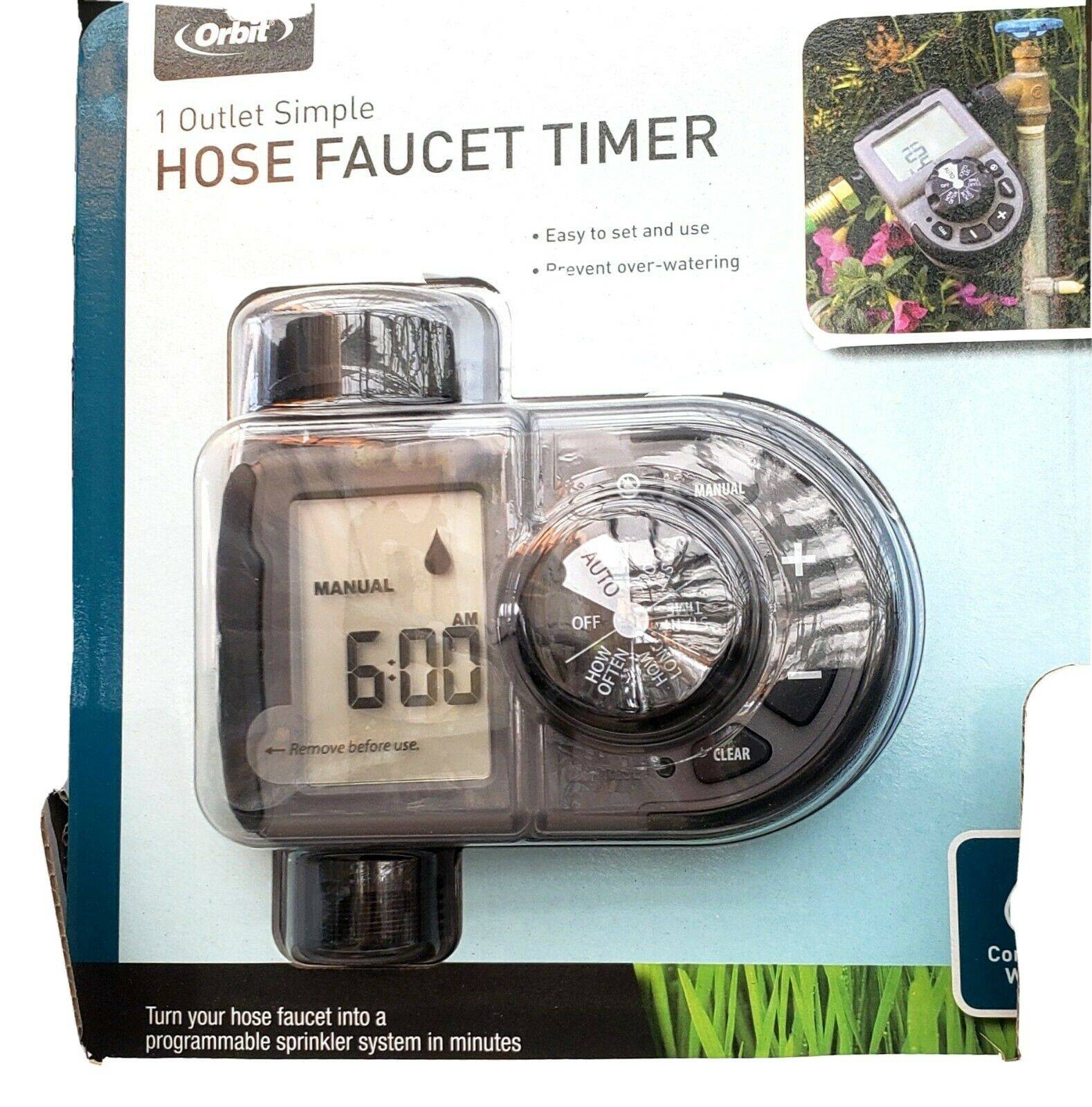 Orbit 1 Outlet Simple Hose Faucet Timer/prevent Over -watering