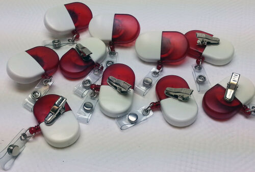 10 Red White Retractable ID Badge Reel Name nurse badge holders alligator clips