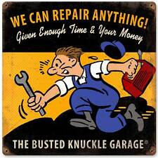 Busted Knuckle Garage Mechanic Repair Retro Metal Sign Man Cave Shop Club BUS73