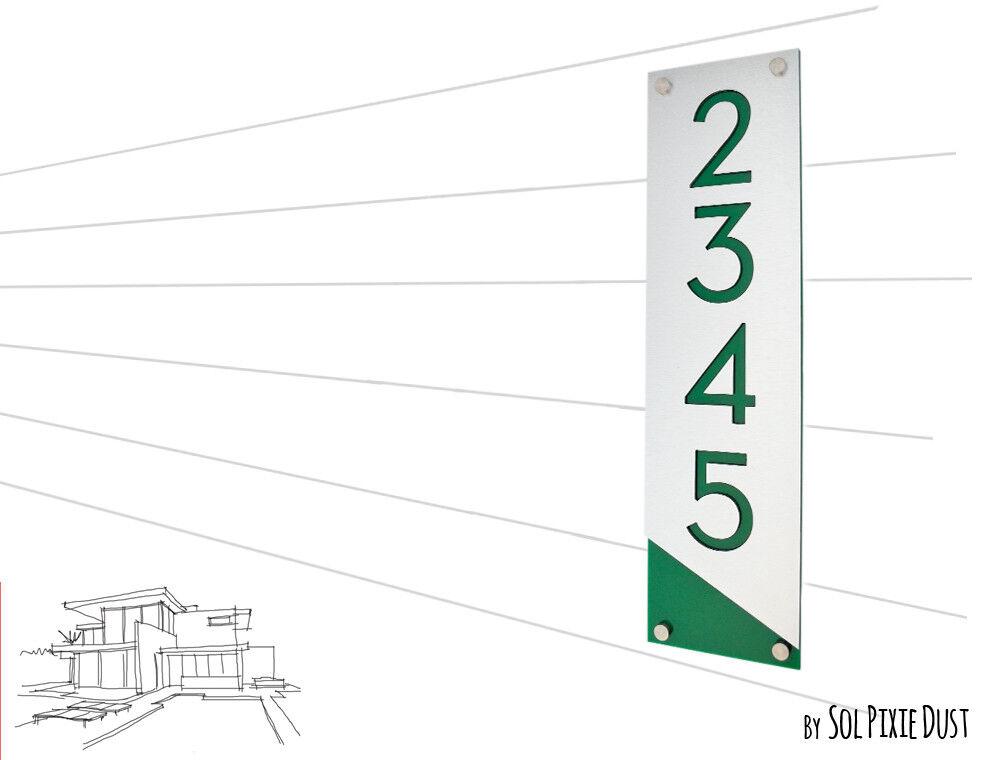 Modern House Numbers, Alucobond with Grün Acrylic - Grünical 3- Contemporary Ho