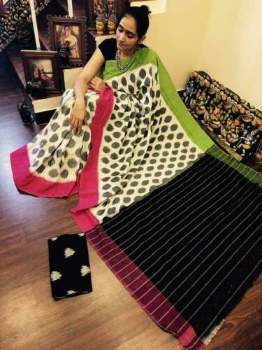 New Saree Sari Handloom Chanderi Cotton Sari Blouse Indian Pakistani Ethnic KN