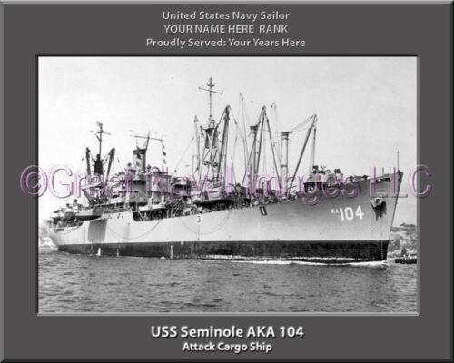 USS Seminole AKA 104 Personalized Canvas Ship Photo Print Navy Veteran Gift
