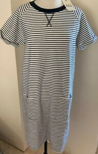 Coastal Dress Blue Barbour Size tag con Nuovo White Uk Stripe di 14 zecca qRxxAE