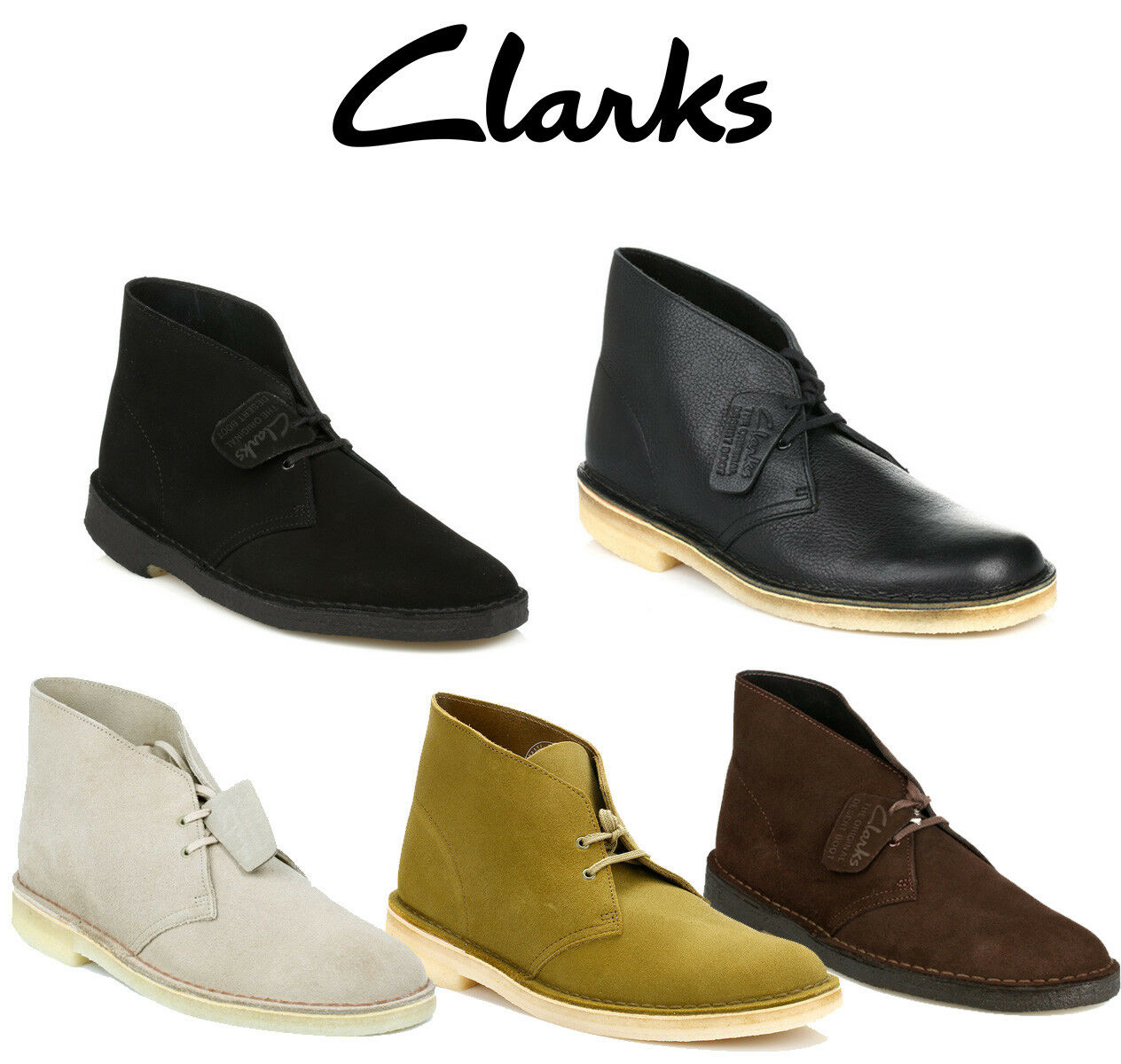 Clarks Mens Original Desert Boots, 5 Colours, Leather or Suede, Casual Shoes