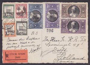 """Vaticano 1933 """"Giardini e Medaglioni"""" alti valori su cartolina viagg. per Olanda"""