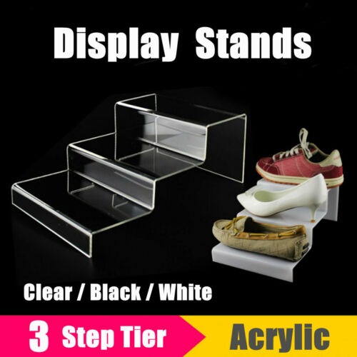3 Tier Step Acrylic Display Shoes Jewellery Riser Stand Retail Counter Showcase