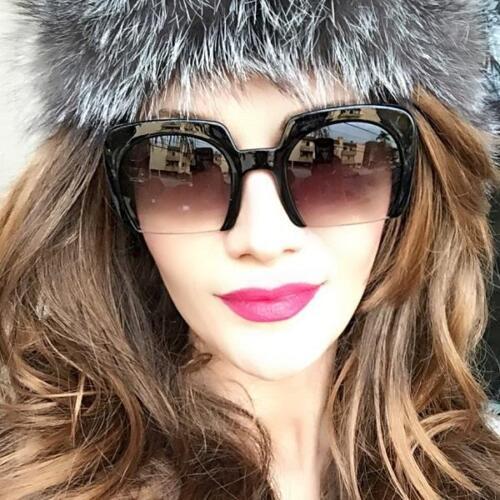 Large Square RAZOR Half Cut Lens Fashion Aviator Women WaYFe Big Sunglasses 6692