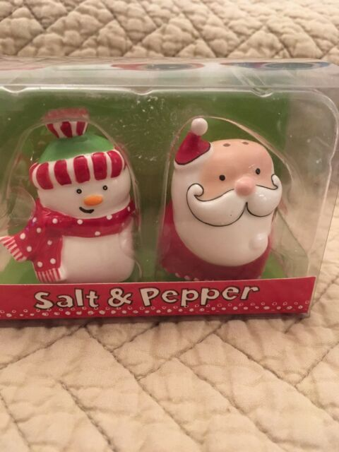 Ceramic Christmas Snowman Salt and Pepper Shakers  NIB