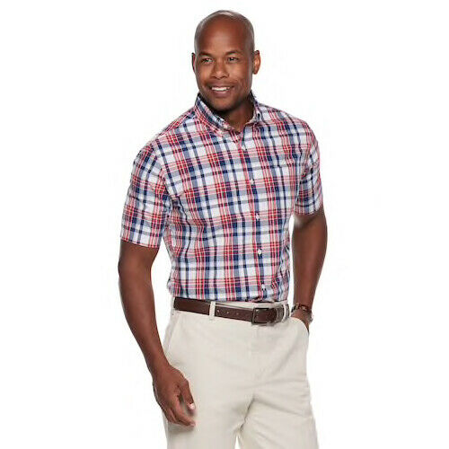 Blue Multi Chaps Mens Classic Fit Thick Striped Dress Shirt