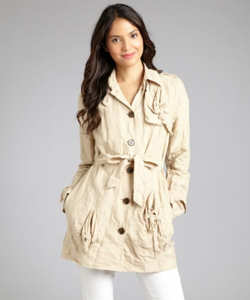 NWT  Gryphon New York Knot Cotton Twill Trench Coat in Army Sz LARGE