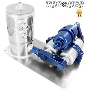 Twin-Bosch-044-Fuel-Pumps-HighFlow-Filter-Manifold-Cradle-Swirl-Pot-Assembly