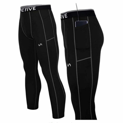 Take Five Mens Side Pocket Skin Tight Compression Layer Pants Leggings Z801