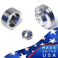 Big Block Ford Pulley Kit 429 460 Billet Aluminum Bbf V-belt Pulleys 3v A/c Ac