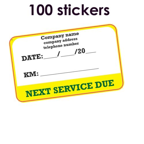 """GLOSS 50 x STICKERS  /""""NEXT SERVICE DUE/"""" Size 75 x 45mm Material VINYL Finish"""