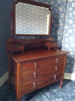 Antique Victorian Mahogany Dressing Table Chest Drawers Mirror