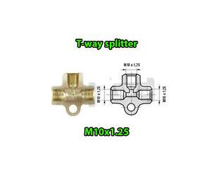 Brake-Line-Pipe-Brass-T-3-way-Female-Fitting-Connector-Splitter-M-10-x-1-25