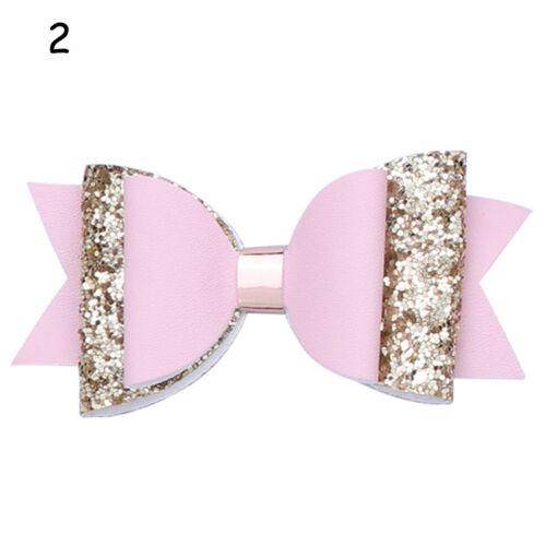 Good PU Leather Hair Clip Bow Double Glitter Cartoon Hairpins Girls Accessories