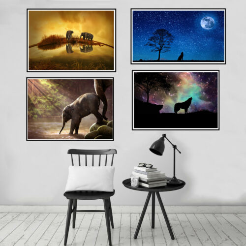 Starry Sky Sunset Animal Canvas Painting Poster Picture Wall Home Room Art Decor