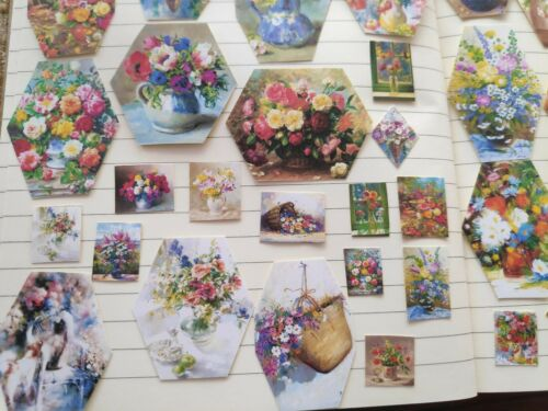 59 Pegatinas de flores multicolores Scrapbook Journal Craft Arte Retro Tarjeta de Regalo
