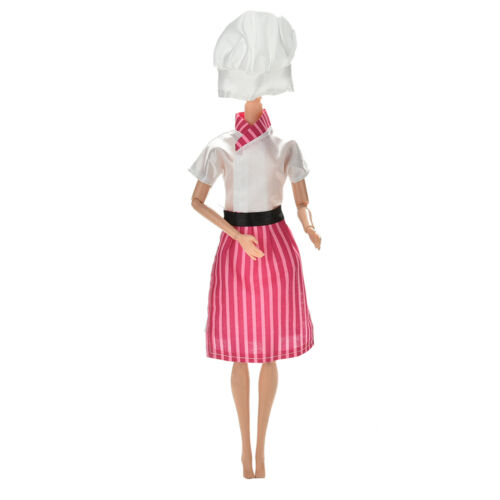 3 Pcs//lot Dress Apron Hat Chef Clothes Doll for s DollsNWCA