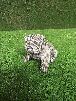 Bulldog Dog Puppy British Stone Ornament Garden Animal Statue Gift Antique Effec