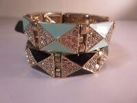 Lot 6 J.crew Enamel Pave Crystal Shapes Bracelet 34.50 Black Teal Blac A6231