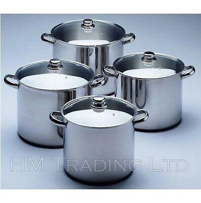 Deep In Acciaio Inox Induzione Stock Soup Pot Coperchio In Vetro 9,11 & 13,5 Litr Stockpot-mostra Il Titolo Originale