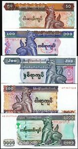 Burma-Myanmar-5-Pcs-SET-50-100-200-500-1000-K-1994-2004-UNC-P-73-74-78-79-80