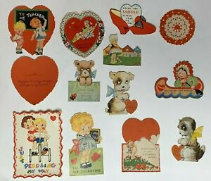 Vintage-Valentine-Lot-Vintage-Valentine-039-s-Paper-Ephemera-Dogs-Cats-Children