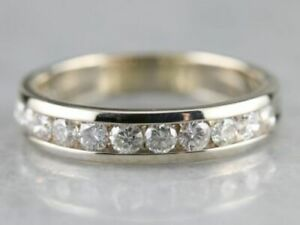 Diamond-1-00-Ct-Channel-Set-Half-Eternity-Wedding-Band-Ring-14K-White-Gold-over