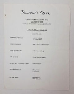 DAWSON-039-S-CREEK-set-used-paperwork-TECH-SCOUT-SCHEDULE-Season-6-Episode-4