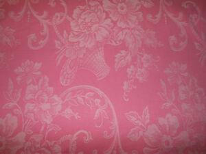 Antique-Vintage-French-Cottage-Pink-Roses-Basket-Cotton-Damask-Ticking-Fabric