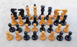 Piezas de ajedrez de torneo soviético ponderado Set 1980s URSS Vintage grossmeister