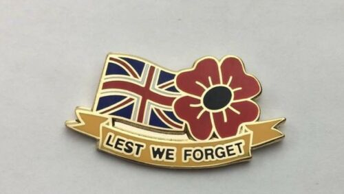 Lest we Forget Union Jack Army Lot of X5 Remembrance Poppy enamel Pin Badges